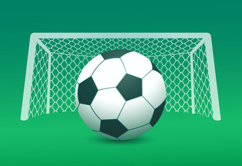Vector image of soccer ball and goal post on green field