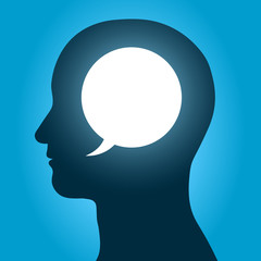 Vector image of speech bubble inside human head over blue background