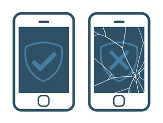 Vector image of smart phone displaying right and wrong checkmarks against white background
