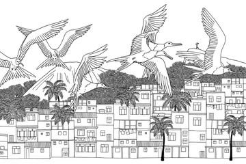 Rio de Janeiro, Brazil - hand drawn black and white cityscape with frigate birds