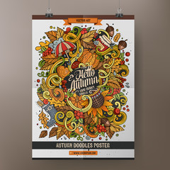 Cartoon colorful hand drawn doodles Autumn poster template