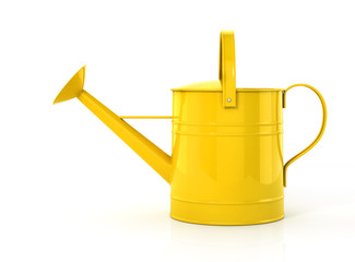 Yellow watering can isolated on a white background. 3d illustrat