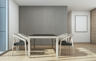 Meeting and dining room, Home with modern interior design - 3d rendering