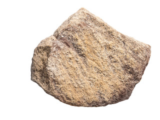 big sand rock stone, isolated on white