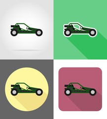 atv car buggy off roads flat icons vector illustration