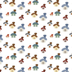 small cute cartoon house set pattern background