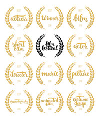 Set of awards for best film, actor, actress, director, music, picture, winner and short film with wreath and 2016 text. Black and golden color film award wreaths isolated on the white background.