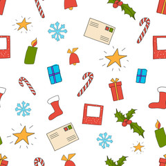 Vector illustration of seamless Christmas pattern on white with set of elements gifts, candy, star, candle, envelope, photo frame, bell, snowflake, boot, holly.