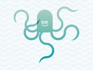 Octopus cartoon illustration. Funny graphic octopus. Vector illustration of octopus