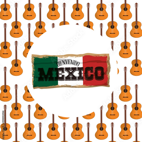 Guitar background  Mexico landmark and mexican culture theme