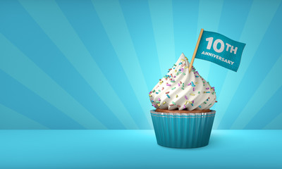 3D Rendering of Blue Cupcake, 10th Anniversary Text on the Flag, Blue Paper Cupcake