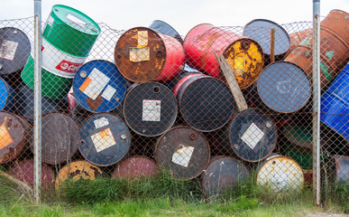 AKRANES, ICELAND - AUGUST 1, 2016: Oil barrels or chemical drums