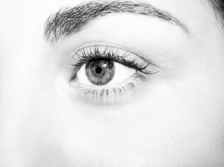 Beautiful insightful look monochrome  woman's eye