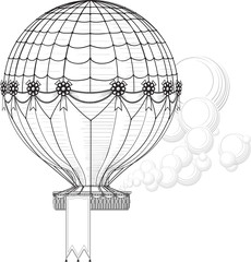 Vintage Hot Air Balloon blowing smoke rises. Hanging banner at the bottom of the basket can be easily removed, increase or decrease in the vector file.