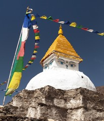 Stupa near Dingboche village with prayer flags