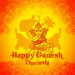 Happy Ganesh Chaturthi background in Indian art style