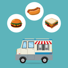 hamburger hot dog sandwich and truck icon. fast food menu american and restaurant theme. Colorful design. Vector illustration
