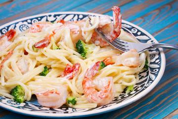 Foto: Creamy Shrimp and broccoli Pasta
