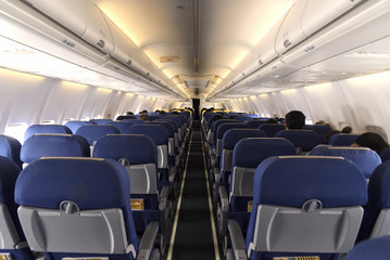 interior of the passenger seat airplane