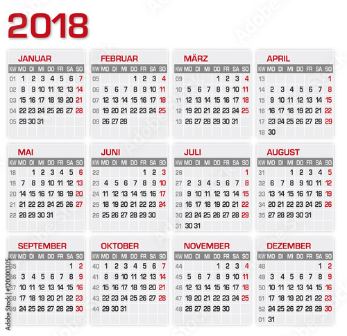Kalender Kalendarium 2018 Stock Image And Royalty Free