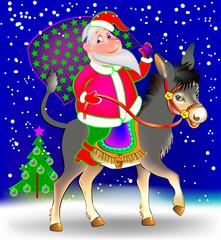 Illustration of funny Santa Claus riding on donkey, vector cartoon image.