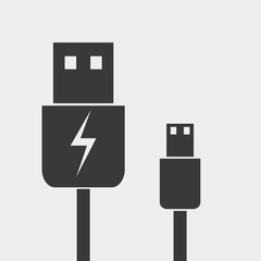 usb cable Icon. Charger icon vector illustration