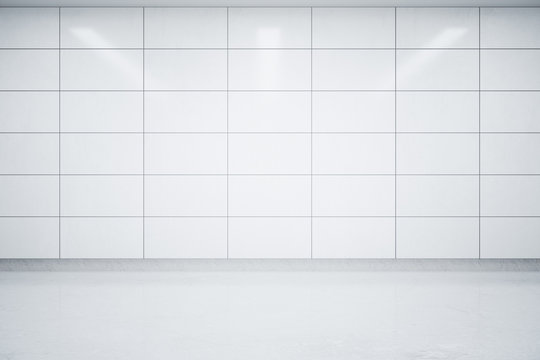 Empty light tile interior