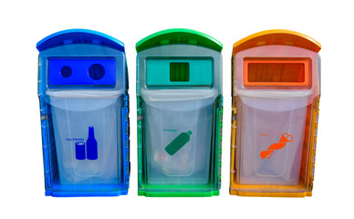 Different colored recycle bins isolated on white background.