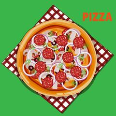 пицца с салями луком и маслинами