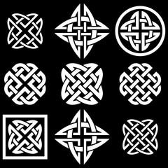 Celtic Quaternary knots set. Vector illustration.