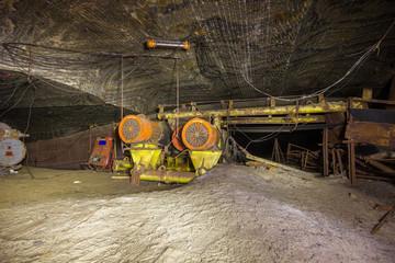 Underground salt mine tunnel