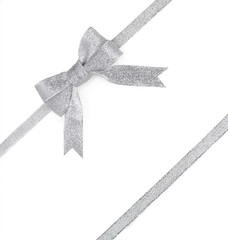 Silver ribbon with bow isolated