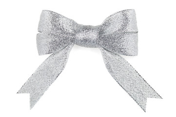 Beautiful silver bow on white background