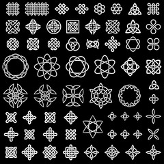 50+ collection of Celtic, Asian (Chinese, Korean, etc.) and other knots for use in your creative projects (vector illustration)