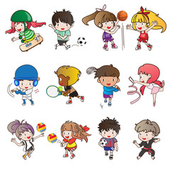 collection of sport activity and cartoon character