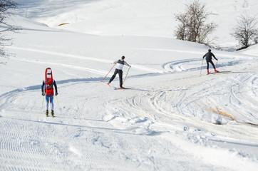 skiers, race in icy snow, Metsovo Ioannina Greece