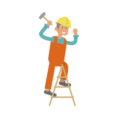 Character construction worker, laborer is hammering a nail. Isolated on white background. Vector illustration eps10