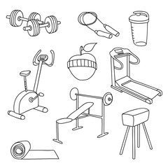 Fitness gym equipment.Hand draw doodle set icons