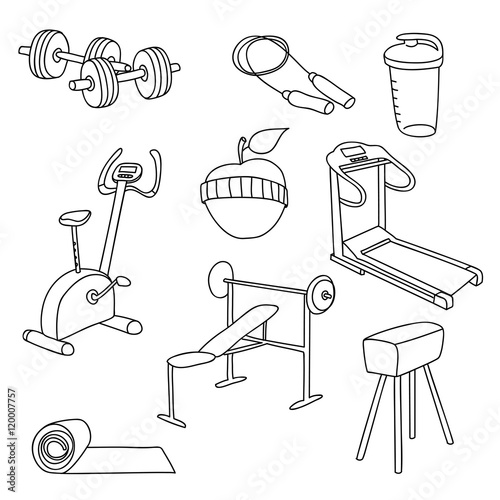 u0026quot fitness gym equipment hand draw doodle set icons