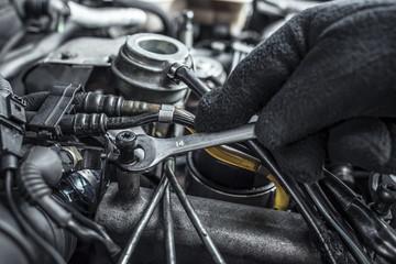 Car repair. Under the hood of the car.