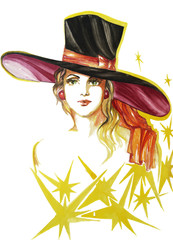 Portrait of young lady from the Broadway Show in the big hat and earrings drawn by watercolor