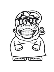 woman female girl girl nerd geek smart hornbrille freak stupid braces funny sweet thick comic cartoon hippo hippopotamus fat