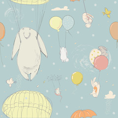 seamless pattern with cute little hares and polar bear