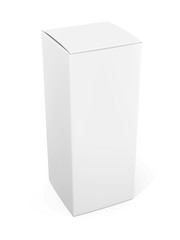 Blank vertical paper or cardboard box template standing on white