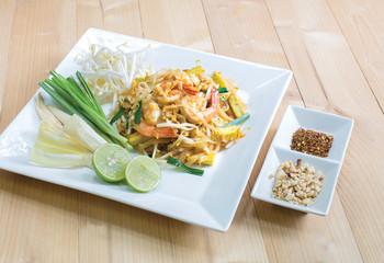 Thai fried noodle with fresh prawn, thai food (Pad Thai)