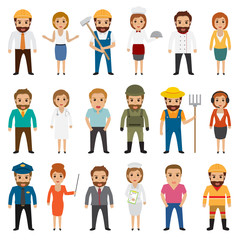People occupation characters set in flat style isolated on white background