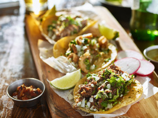 Wall Mural - authentic mexican street tacos with different meats