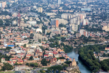 Aerial view on the center of Tbilisi, capital of Georgia