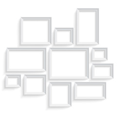 Blank picture frame template set isolated on wall. Photo art gallery