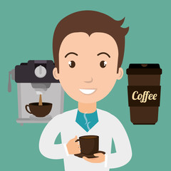 man machine coffee cup vector illustration eps10